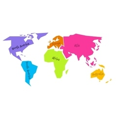 Simplified world map divided to six continents in vector image