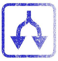 Split arrows down framed textured icon vector