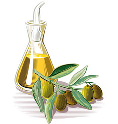 Sprig and a cruet of olive oil vector