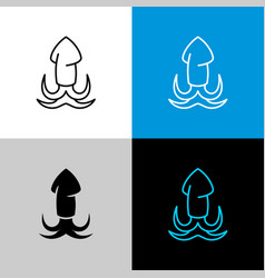 squid thin linear simple icon adjustable line vector image