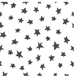 stars hand drawn seamless pattern black and white vector image
