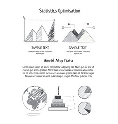 Statistics optimization and world map data poster vector