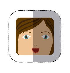 Sticker cartoon human female smiling expression vector