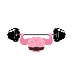 Strong brain and barbell powerful pumped human vector