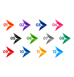 Stylish arrow number bullet points from one vector