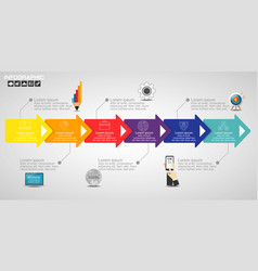 Timeline infographics design template with 12 vector