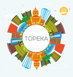 topeka kansas usa city skyline with color vector image
