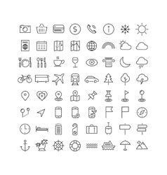 Travel tourism and weather icons vector image