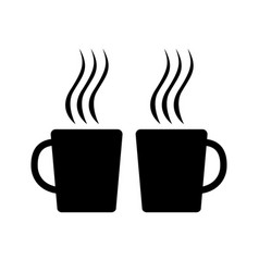 Two tea cups black silhouettes vector