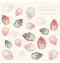 Vintage cupcake Card cupcakes hand-drawn with vector image
