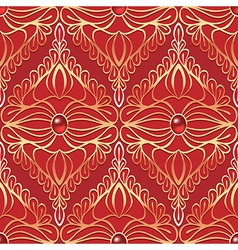 Vintage seamless pattern with red gemstones vector image