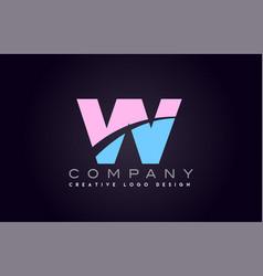 vv w alphabet letter join joined letter logo vector image