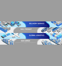 Web design showing various logistics service vector