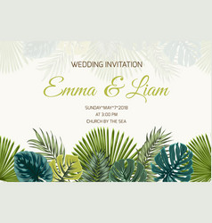 Wedding invitation green turquoise tropical leaves vector