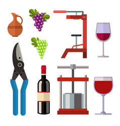 winery making harvest cellar vineyard glass vector image