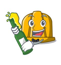 with beer construction helmet mascot cartoon vector image