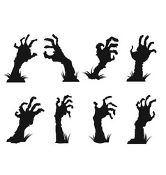 zombie hands icon set vector image