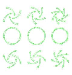 arrows outline green vector image vector image