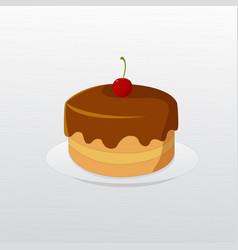 Birthday chocolate cake with cherry on dish vector