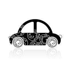 Black car with floral ornament for your design vector image vector image