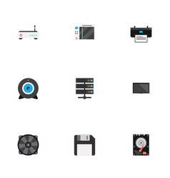Flat icons router diskette hard disk and other vector
