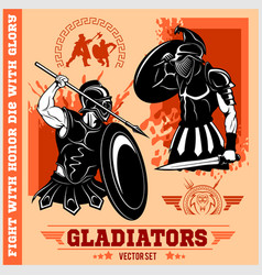 Set of gladiators on red background vector