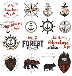 Set of the adventure labels emblems and design vector image vector image