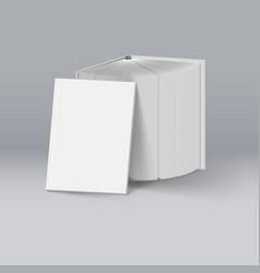 Stack of white books mockup template for design vector