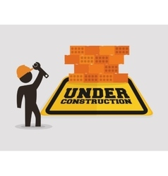 under construction with worker wrench brick wall vector image