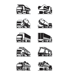 Different types of trucks with trailers vector image vector image