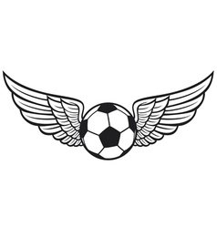 football ball with wings emblem vector image