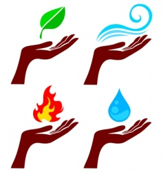 hand with nature elements vector image