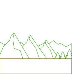 landscape natural peak mountains snow tree pine vector image