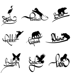 set of animals silhouette with lettering vector image vector image