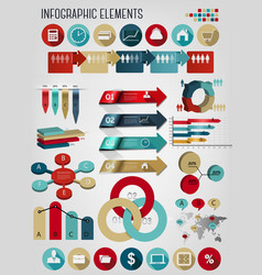 Set of business infographics elements vector image vector image