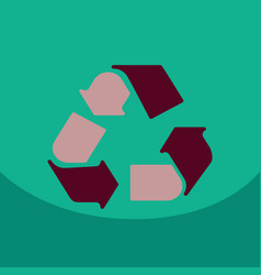 simple recycle flat icon with stroke on color vector image
