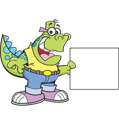 Cartoon Dinosaur Holding a Sign vector image vector image