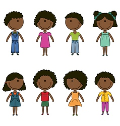 Cute happy African-American kids vector image