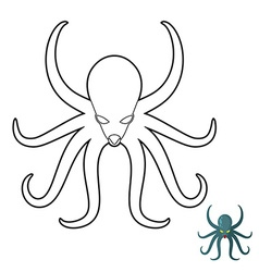 Octopus coloring book Cthulhu kraken underwater vector image vector image