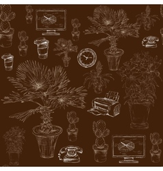 Seamless office stationery with decorative flowers vector image