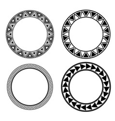 set of black and white round frames with geometric vector image vector image