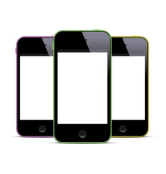 Three colored smartphones with blank screens vector image vector image
