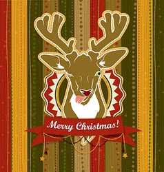 Vintage Christmas card with Deer showing his vector image