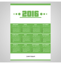 2016 simple business wall calendar green and white vector image vector image