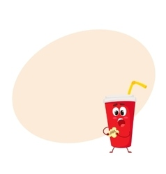 Funny soft drink paper cup character eating a vector image vector image