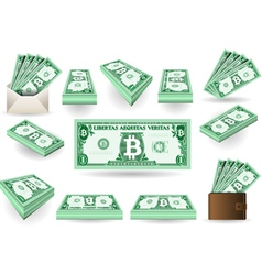 Set of One Bitcoins Banknotes vector image
