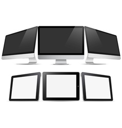 Three desktop computers and three tablets pc vector image vector image