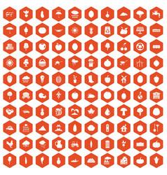 100 productiveness icons hexagon orange vector