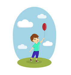 a boy is playing with a balloon on the street vector image