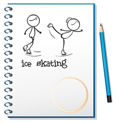 A notebook with an image of two people ice skating vector